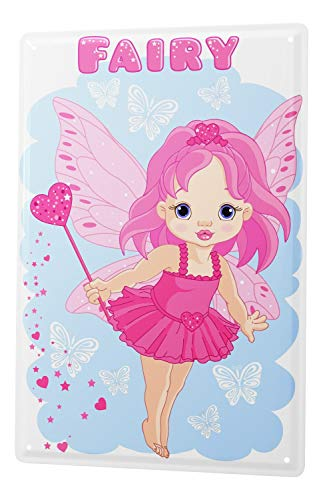 LEotiE SINCE 2004 Tin Sign cute little fairy with heart wand and hearts dust butterfly cartoon comic satire 20x30 cm metal shield Shield Wall Art Deco decoration retro Advertising