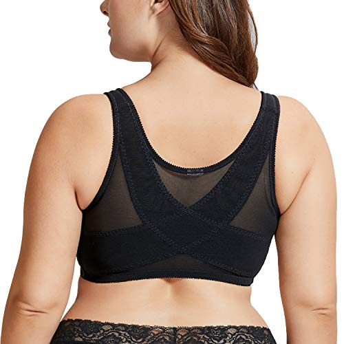 DELIMIRA Women's Full Coverage Posture Corrector Front Closure Wireless Back Support Bra Black 48E