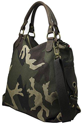 FERETI Camouflage Damen Tasche Grün Braun Tarn Tarnmuster Groß Mit Echt Leder Schultertasche Muster 2 in 1