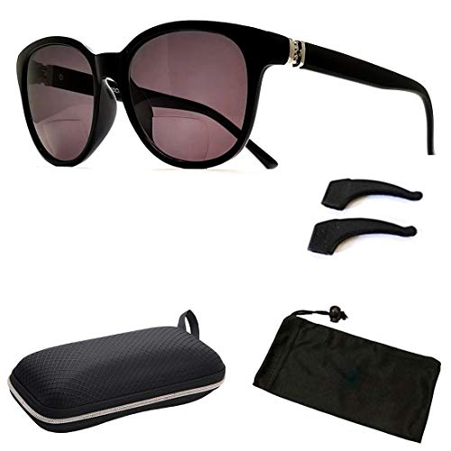 Bifocal Sun Readers All in One Women Premium Designer Fashion Sunglasses Reading Glasses (Style B Black, 3.0)