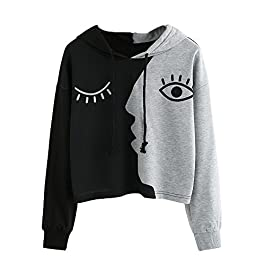 Aiserkly Hoodie Sweater Women Sweatshirt Hoody Long Sleeve Crop Patchwork Blouse Pullover Tops Shirt Casual Blouse
