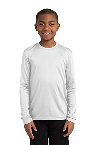 Dri-Wick Youth Sport Performance Moisture Wicking Athletic Long Sleeve Shirt (White, X-Small)