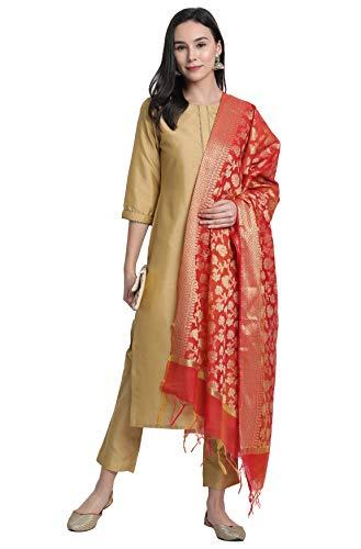 Janasya Women's Poly Silk Gold Kurta With Pant And Dupatta