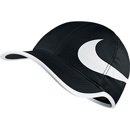 Nike Unisex Featherlite Aerobill Swoosh Hat Black/White (Feather Light Womens Hat)