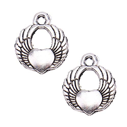 (Monrocco 100pcs Angel Wings Heart Lucky Charms Antique Silver Pendants for DIY Jewelry Making Accessories)