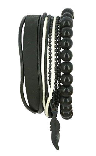 [Indian Jewelry Mens Bracelet Thread Wood Bead HandmadePresent for Boyfriend] (Indian Beaded Bracelet)
