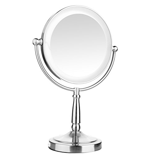Leju Lighted Makeup Mirror  1X 3X Magnifying Double Sided 360 Degree Rotation Tabletop Makeup Mirror  Lighted Mirror