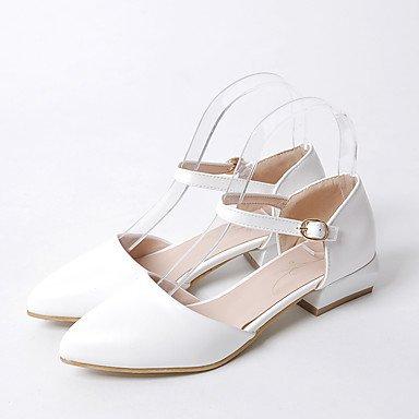Sandalias Primavera Verano Otoño Zapatos Club PU Oficina & Carrera visten casual Chunky TALÓN TALÓN bajo la hebilla de hueco White