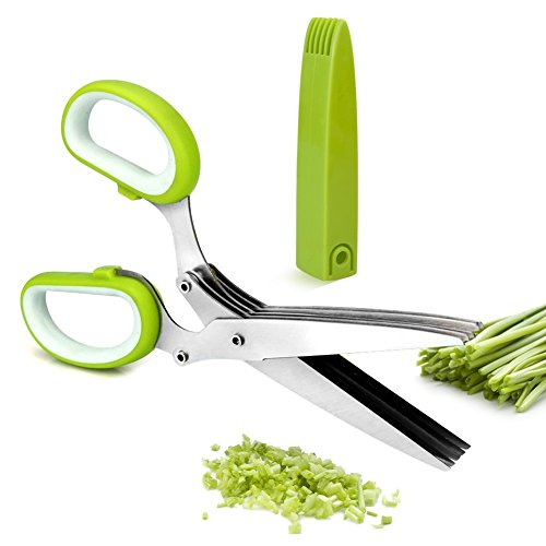 Vermida Kitchen Herb Scissors, 5-Blades Functional Utility Kitchen Shears with Cleaning Comb, Stainless Steel Sharp Cutter for Scallion, Mint, Rosemary, Vanilla, Herb, ()
