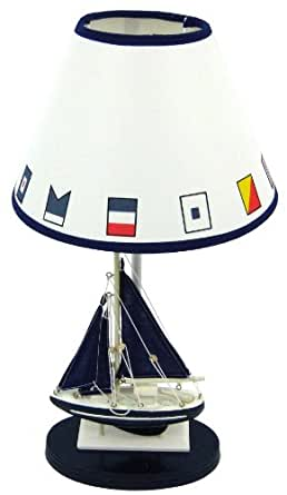 Blue Sailboat Boat Nautical Table Lamp with Shade