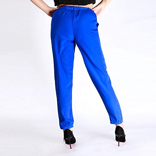 Tuta Signore Chiffon Estivi Leggero Blau Unique Pantaloni Donne Tempo Elastica Pants Baggy Con Light Vita Eleganti Libero Classiche Monocromo Pantaloni Pantaloni Fashion Coulisse FwaAIIx5