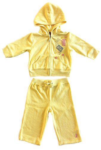 Juicy Couture Baby Grand Bazaar Terry Hoodie Pant Set, Polaroid Yellow, 3-6 Months