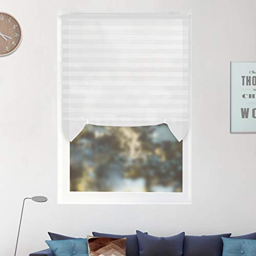 """6 Pack Temporary Window Shades Cordless Blinds Light Filtering Pleated Fabric Shade Easy to Cut and Install, with 12 Clips, 36""""x72""""-6 Pack, White"""