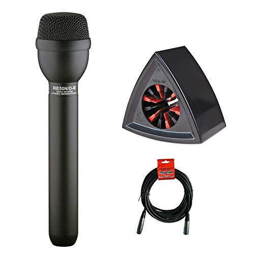 Electro Voice Omnidirectional Dynamic Mic - Electro-Voice RE50N/D-B Omnidirectional ENG Microphone with Rycote Triangle Mic Flag (Black) & XLR Cable Bundle