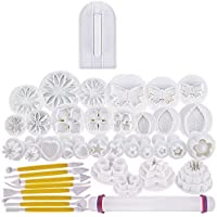 46 pcs Fondant Cutters Tools Catalina Fondant Molds Cake Decorating Tool Set with Rolling Pin Smoother Embosser Moulds