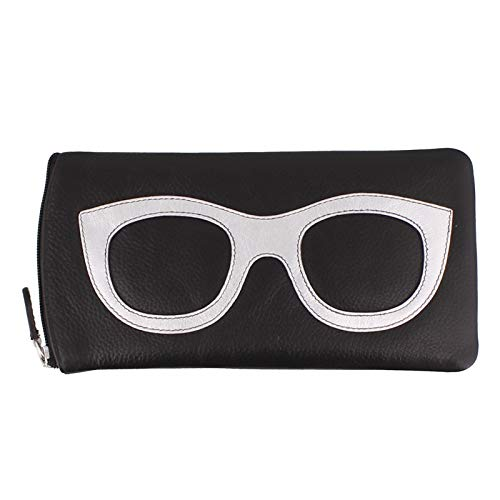 ili New York 6462 Leather Eyeglass Case (Black/Silver)