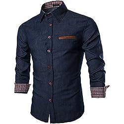 Coofandy Mens Casual Dress Shirt Button Down Shirts,Medium,Type 01 - Ultramarine Blue,Medium