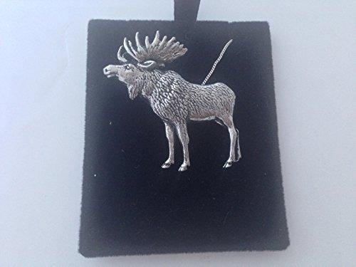 A47debout Moose Fine–Collier Femme–Plaqué Platine 3D en étain anglais fait à la main 45,7cm avec fierté en détail emballage