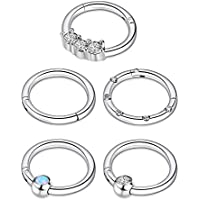 BBTO 5 Pieces 16G Stainless Steel Hinged Ring Nose Ring with Opal Crystal CZ for Nostril Lip Ear Piercings, 5 Styles