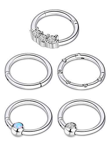 BBTO 5 Pieces 16G Stainless Steel Hinged Ring Nose Ring Opal Crystal CZ Nostril Lip Ear Piercings, 5 Styles (Silver) by BBTO