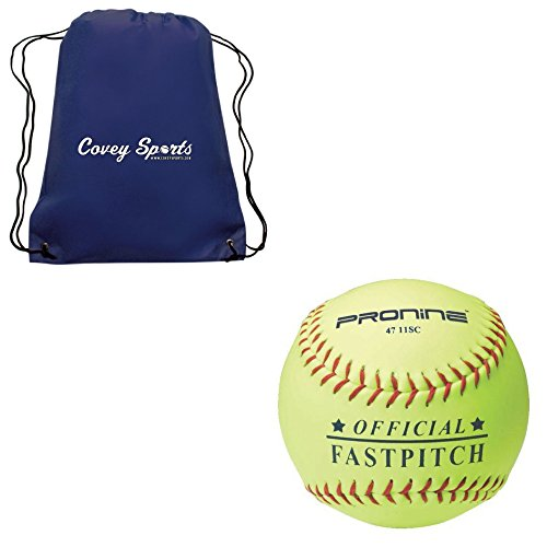 ProNine 11 Inch (10U) Official League Girls Fastpitch Softballs (3-Balls) Bundled with Covey Sports Drawstring - Blue Navy Batting Official