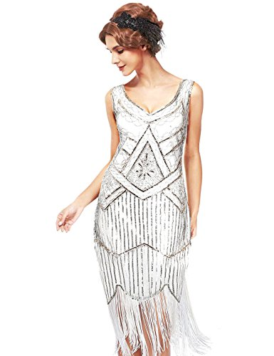 Uniq Sense XS-XXL Women's Roaring 20s V-Neck Gatsby Dresses- Vintage Inpired Sequin Beaded Flapper Dresses (XS, White)]()