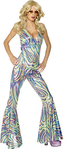 Smiffy's Women's Dancing Queen Costume, Halter neck Catsuit, 70 Disco, Serious Fun, Size 10-12, (Dancing Queen Costume Child)
