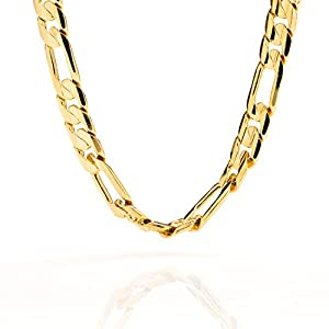 Lifetime Jewelry Figaro Chain 9MM, 24K Gold with Inlaid Bronze, Premium Fashion Jewelry, Pendant Necklace Wear Alone or with Pendants, Hip Hop, Guaranteed for Life, 20 to 36 Inches