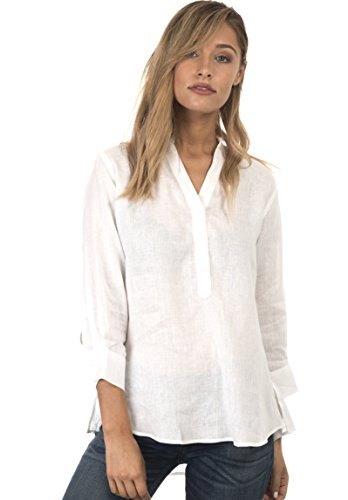 CAMIXA Women's Casual Button-up Popover Shirt Effortless Work To Weekend Basic M White