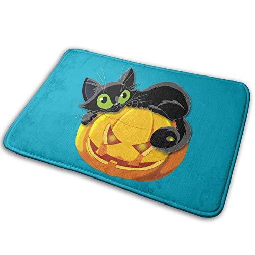 Yangkun Halloween Cat Doormat, Front Welcome Anti-Skid Absorbent Moisture Bath Rugs Indoor Outdoor Rug for Entrance, Door -