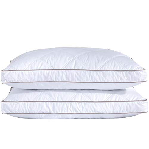 puredown Natural Goose Down Feather Pillows for Sleeping Down Pillow 100% Cotton Pillow Cover Downproof King Set of -