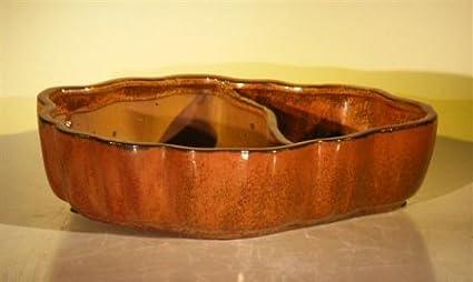 Amazon Com Bonsai Boy S Aztec Orange Ceramic Bonsai Pot Oval Land Water With Scalloped Edges 9 5 X 7 5 X 2 25 Garden Outdoor