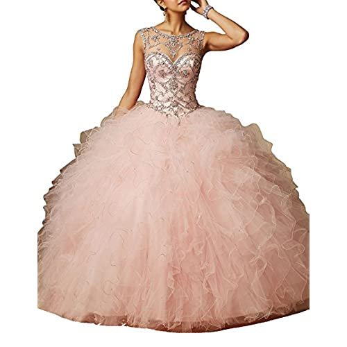 FNKS Scoop Neck Crystal Womens Prom Ball Gown Quinceanera Dresses Pink US 8