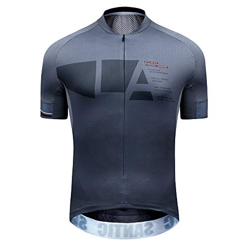 Northwestern Cycling Jersey - Santic Mesh Cycling Jersey Men Bike Jersey Cycling Jacket Refkective Breathable Moisture Wicking and Quick Dry with Rear Pockets
