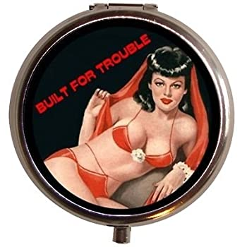 Built For Trouble Pinup Pill box Pill Case Retro Kitsch