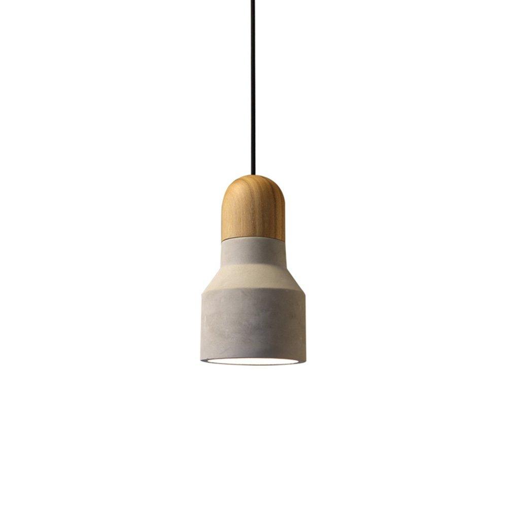 MLef Eleganter Luxus-Stil Retro Loft Kronleuchter Industrie Wind Einzelkopf Restaurant Cafe Holz Kunst Zement E27 Persönlichkeit Luxuriös Energiesparend (Größe   12  22cm)