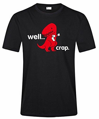 Crap Black T-shirt (Men's Well Crap Roll Paper T-Rex Dinosaur Funny Tee Shirt (XXL, Black))