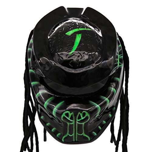 Predator Motorcycle Helmet - DOT Approved - Unisex - Alien Green Eon