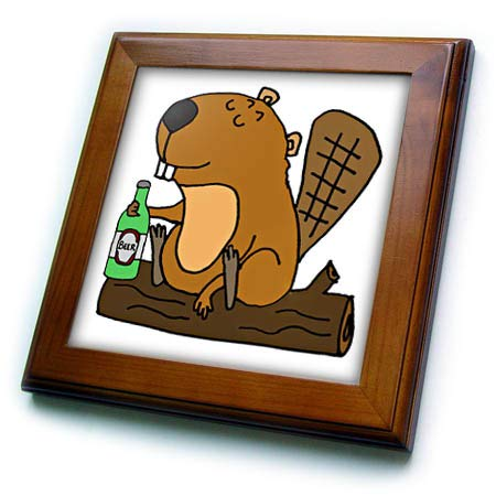 - 3dRose All Smiles Art - Animals - Cool Funny Beaver Drinking Beer Cartoon - 8x8 Framed Tile (ft_309114_1)