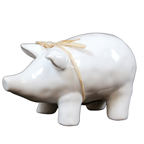 Bright White Ceramic Piggy Bank