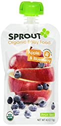 Sprout Organic Baby Food Pouches, Stage 2 Sprout Baby Food, Strawberry Pear Banana, 3.5 Ounce (Pack of 6)
