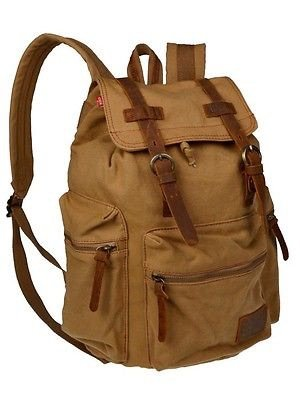 Men Women Vintage Khaki Canvas Backpack Rucksack School Bag Satchel Hiking - Aviators Ysl