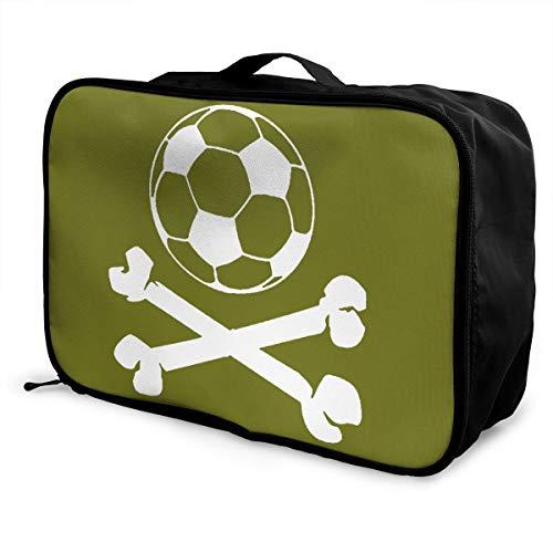 HESLOM MOO Foldable Waterproof Travel Duffel Bag, Soccer Ball Logo Pirate Skull Cross Bones Travel Luggage Bag Lightweight Weekender Overnight Carry-on Shoulder Duffel Tote Bag