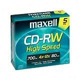 Maxell 4x CD-RW High Speed Media - 700MB - 120mm Standard - 5 Pack