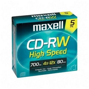 Maxell 4x CD-RW High Speed Media - 700MB - 120mm Standard - 5 Pack by Maxell