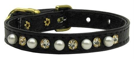 Mirage Pet Products 3/8-Inch Pearl and Clear Crystals Pet Collar, Size 14, Black