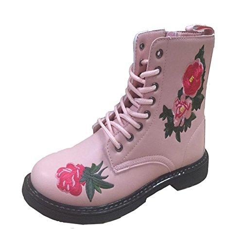 Botas bajas Resistente Cálido Cremallera choque Nuevo Imprimir al desgaste nieve Antideslizante lateral de de goma Suela Absorción Impermeable pink Botas de Mujeres femeninas Botas qwvpII