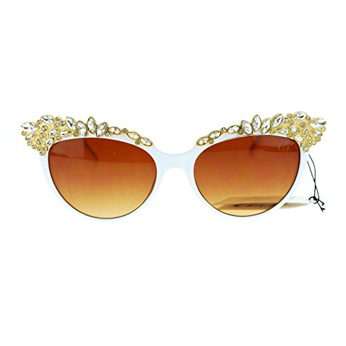 Womens Large Rhinestone Jewel Brow Lash Cat Eye Sunglasses - Eye Cat Sunglasses Rhinestone