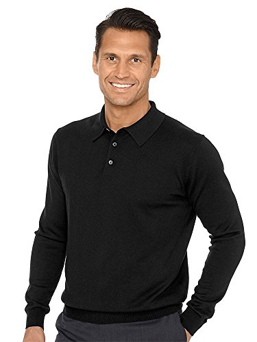 Paul Fredrick Men's Silk, Cotton \ Cashmere Polo Collar Sweater Black Medium ()