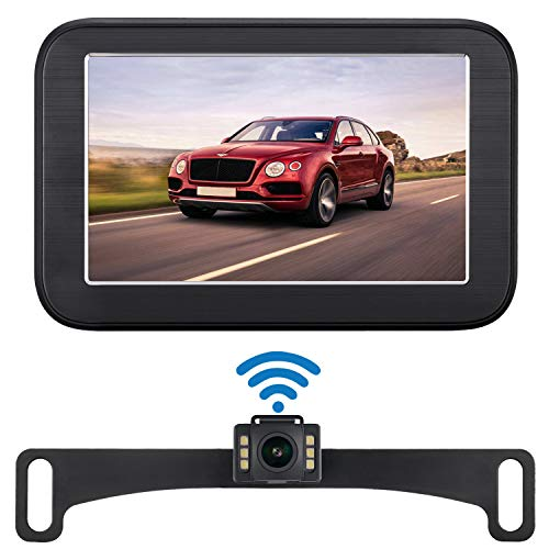 iStrong Backup Camera Wireless 5'' Monitor Kit for Car/SUV/Minivan Waterproof License Plate Rear View Camera with 6 White LED Night Vision Guide Lines ON/Off ()